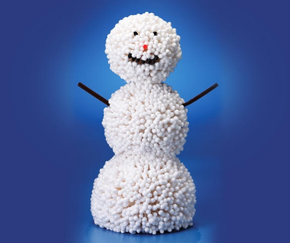 Snowman made out of Q-Tips.