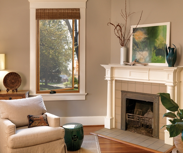 living room setting with chair and fireplace - 11638