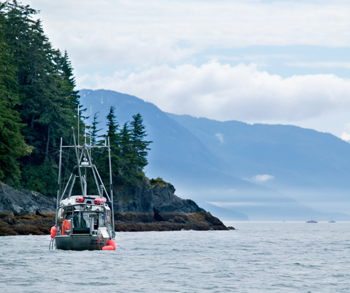 Fishing boat off the coast of Alaska.