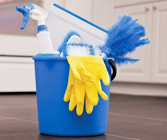 Bucket full of cleaning supplies and rubber gloves. re?id=3684 redirect from clean home for holidays