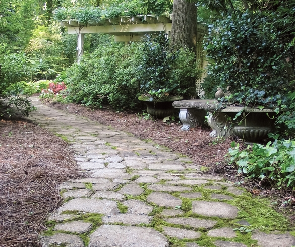 Cottage style walk way using stone pavers.