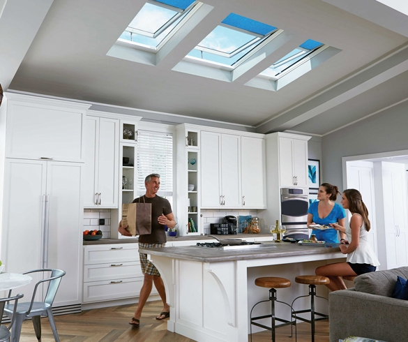 Family in modern kitchen with skylights - 13099
